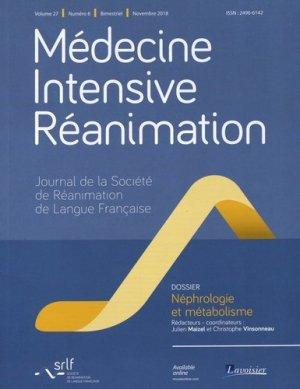 Médecine Intensive Réanimation Volume 27 N° 6, novembre 2018 : Néphrologie et métabolisme - Tec and Doc Lavoisier - 9782743024604 -