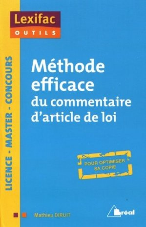 Méthode efficace du commentaire d'article de loi - Bréal - 9782749538044 -