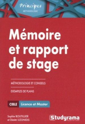 Mémoire et rapport de stage. Méthodologie approfondie - Studyrama - 9782759029051 -