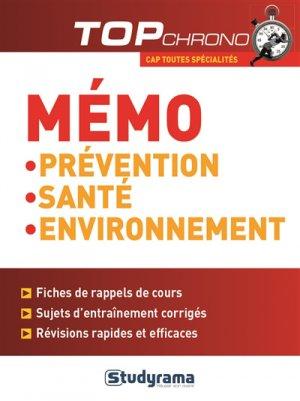 Mémo prévention santé environnement - studyrama - 9782759031887 -