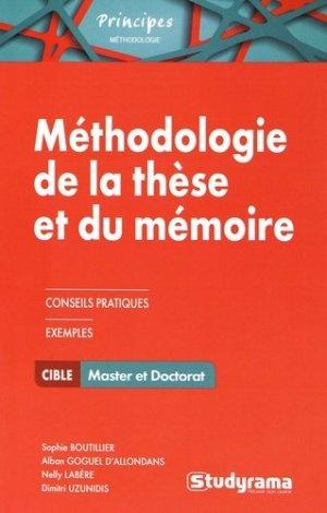 Méthodologie de la thèse et du mémoire - Studyrama - 9782759035083 -