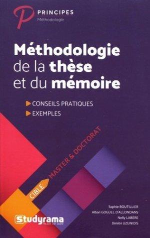 Méthodologie de la thèse et du mémoire - Studyrama - 9782759038145 -