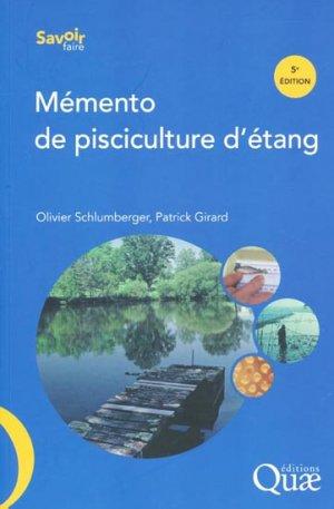 Mémento de pisciculture d'étang - quae  - 9782759218943 -