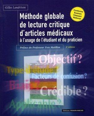 Méthode globale de lecture critique d'articles médicaux à l'usage de l'étudiant et du praticien - frison roche - 9782876715189 -