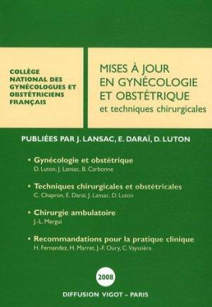 Mises à jour en Gynécologie et Obstétrique et techniques chirurgicales - Vigot - 9782711482085 -
