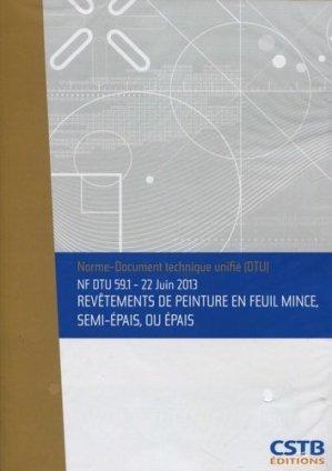 NF DTU 59.1 Revêtements de peinture en feuil mince, semi-épais, ou épais - cstb - 3260050849869 -