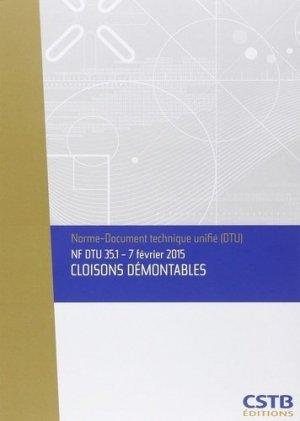 NF DTU 35.1 Cloisons démontables - cstb - 3260050849944 -
