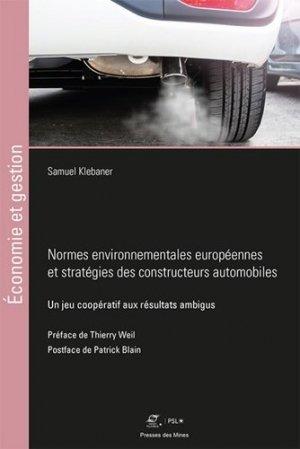 Normes environnementales européennes et stratégies des constructeurs automobiles - presses des mines - 9782356716170 -