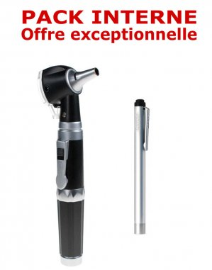 PACK INTERNE - Otoscope Spengler SMARTLED à LED et fibre optique Noir + Lampe stylo à LED Litestick Spengler INOX - spengler holtex - 2224428470032 -