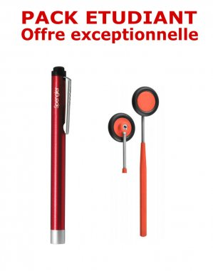 PACK ETUDIANT - Marteau à réflexes Babinski adulte 25 cm Spengler + Lampe stylo à LED Litestick Spengler - ROUGE - spengler holtex  - 2224429151879 -