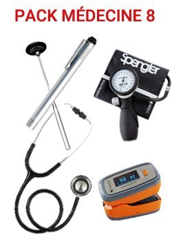 Pack médecine 8 - Stéthoscope Magister NOIR- Tensiomètre manopoire  Lian Nano - Marteau réflex Spengler - Lampe stylo à LED - Otoscope SMARTLED à LED et fibre optique - OXYSTART - Oxymètre de pouls - spengler - 2226010290837 -