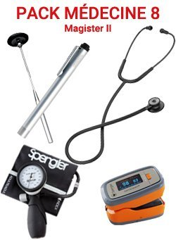 Pack médecine 8 - Stéthoscope Magister II BLACK- Tensiomètre manopoire  Lian Nano - Marteau réflex Spengler - Lampe stylo à LED - Otoscope SMARTLED à LED et fibre optique - OXYSTART - Oxymètre de pouls - spengler - 2226010302790 -