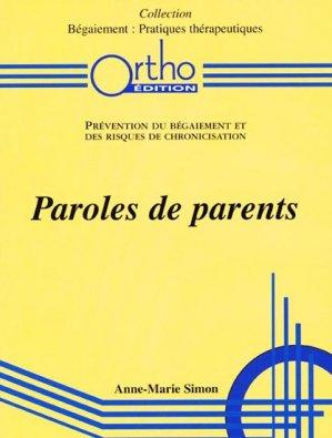 Paroles de parents - ortho  - 9782906896680 -