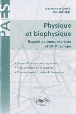 Physique et biophysique  Tome 1 - ellipses - 9782729855802 -