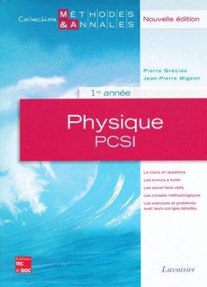 Physique PCSI  1ère année - lavoisier / tec et doc - 9782743011437 -