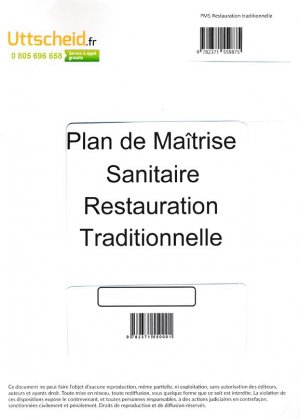 Plan de Maîtrise Sanitaire (PMS) Restauration traditionnelle - uttscheid - 9782371559875 -