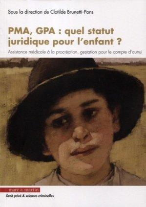 PMA, GPA : quel statut juridique pour l'enfant ? - Editions Mare et Martin - 9782849343869 -