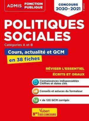 Politiques sociales catégories A et B. Cours, actualité et QCM en 38 fiches, Edition 2020-2021 - Vuibert - 9782311208061 -