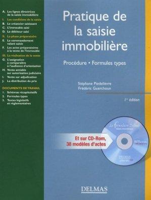 Pratique de la saisie immobilière. Procédure, formules types, avec 1 CD-ROM - dalloz - 9782247075232 -