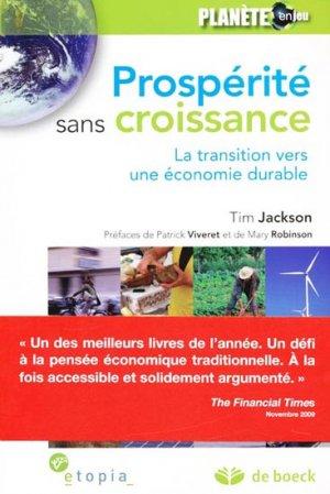Prospérité sans croissance - de boeck superieur - 9782804132750 -