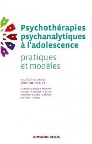 Psychothérapies psychanalytiques à l'adolescence - armand colin - 9782200287351 -