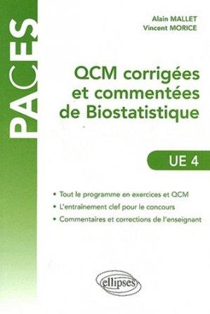 QCM corrigées & commentées de Biostatistique - UE 4 - ellipses - 9782729871871 -