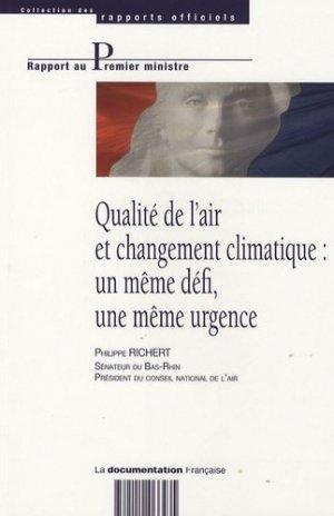 Qualité de l'air et changement climatique : un même défi, une même urgence - la documentation francaise - 9782110066435 -