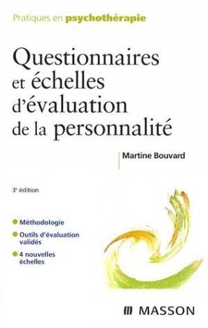Questionnaires et échelles d'évaluation de la personnalité - elsevier / masson - 9782294705472