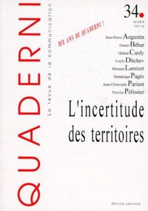 Quaderni N° 34 Hiver 1997-1998 : L'incertitude des territoires - Sapientia - 9782840090342 -