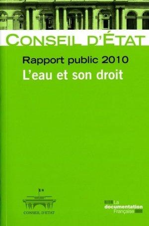 Rapport public 2010. L'eau et son droit - la documentation francaise - 9782110081537 -