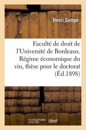 Régime économique du vin - Hachette - 9782013733595 -