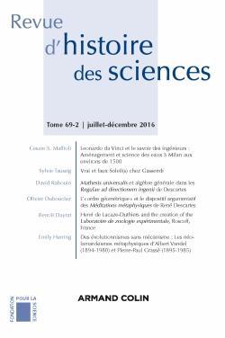 Revue d'histoire des sciences (2/2016) - armand colin - 9782200930684 -