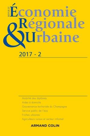 Revue d'économie régionale et urbaine nº 2/2017 Varia - armand colin - 9782200931315 -
