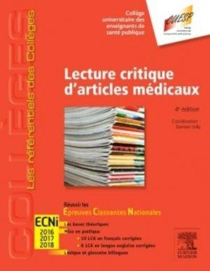 Référentiel Collège Lecture critique d'articles médicaux - elsevier / masson - 9782294746444 -