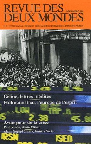 Revue des deux Mondes Décembre 2011 : Psychologie de la crise - Revue des deux mondes - 9782356500427 -
