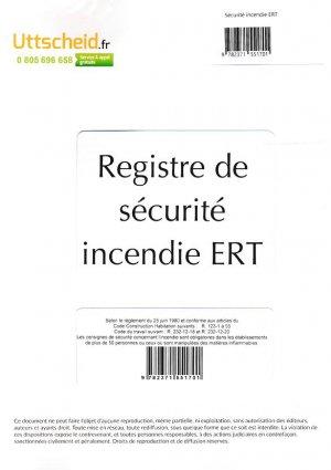 Registre de sécurité incendie ERT - uttscheid - 9782371551701 -