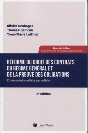 Réforme du droit des contrats du régime général. Commentaire article par article, 2e édition - lexis nexis (ex litec) - 9782711030279 -