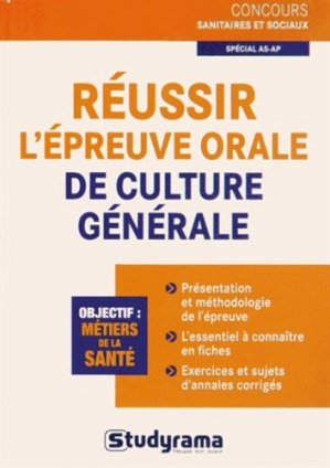 Réussir l'épreuve orale de culture générale - studyrama - 9782759020362 -