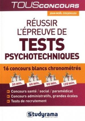 Réussir l'épreuve de tests psychotechniques - studyrama - 9782759031344 -