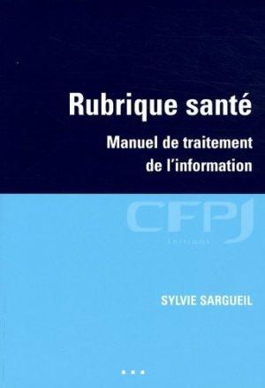 Rubrique santé - cfpj - 9782353070114 -