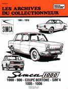 Simca 1000 - 900 - Coupé bertone - Sim'4 - 1005 - 1006 - etai - editions techniques pour l'automobile et l'industrie - 9782726882191 -