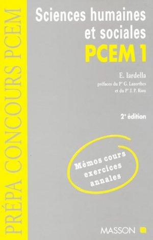 Sciences humaines et sociales PCEM 1 - elsevier / masson - 9782225833793 - Santé, Société, Humanité,