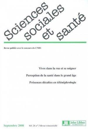 Sciences Sociales et Santé Volume 26 N° 3, Septembre 2008 - John Libbey Eurotext - 9782742007264 -