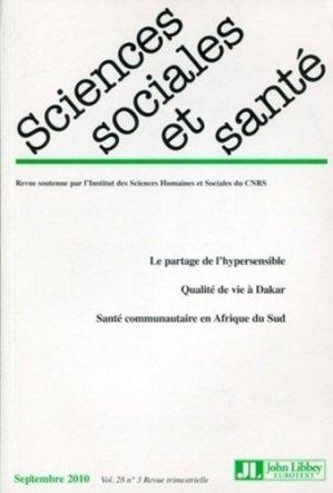 Sciences Sociales et Santé Volume 28 N° 3, Septembre 2010 - John Libbey Eurotext - 9782742007905 -