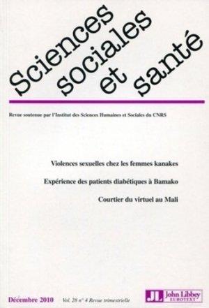 Sciences Sociales et Santé Volume 28 N° 4, Décembre 2010 - John Libbey Eurotext - 9782742008025 -