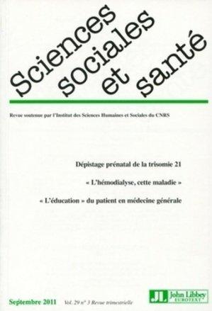 Sciences Sociales et Santé N° 29, septembre 2011 - John Libbey Eurotext - 9782742008179 -