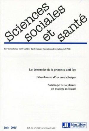 Sciences Sociales et Santé Volume 33 N° 2, Juin 2015 - John Libbey Eurotext - 9782742014156 -