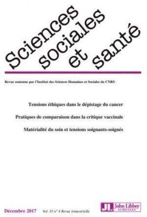 Sciences Sociales et Santé Volume 35 N° 4, décembre 2017 - John Libbey Eurotext - 9782742015214 -