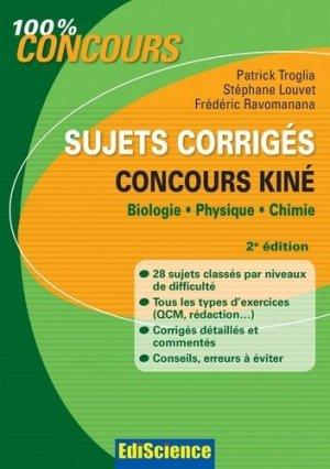 Sujets corrigés concours Kiné - édiscience - 9782100700837 -