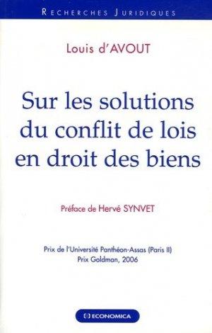 Sur les solutions du conflit de lois en droit des biens - Economica - 9782717852387 -